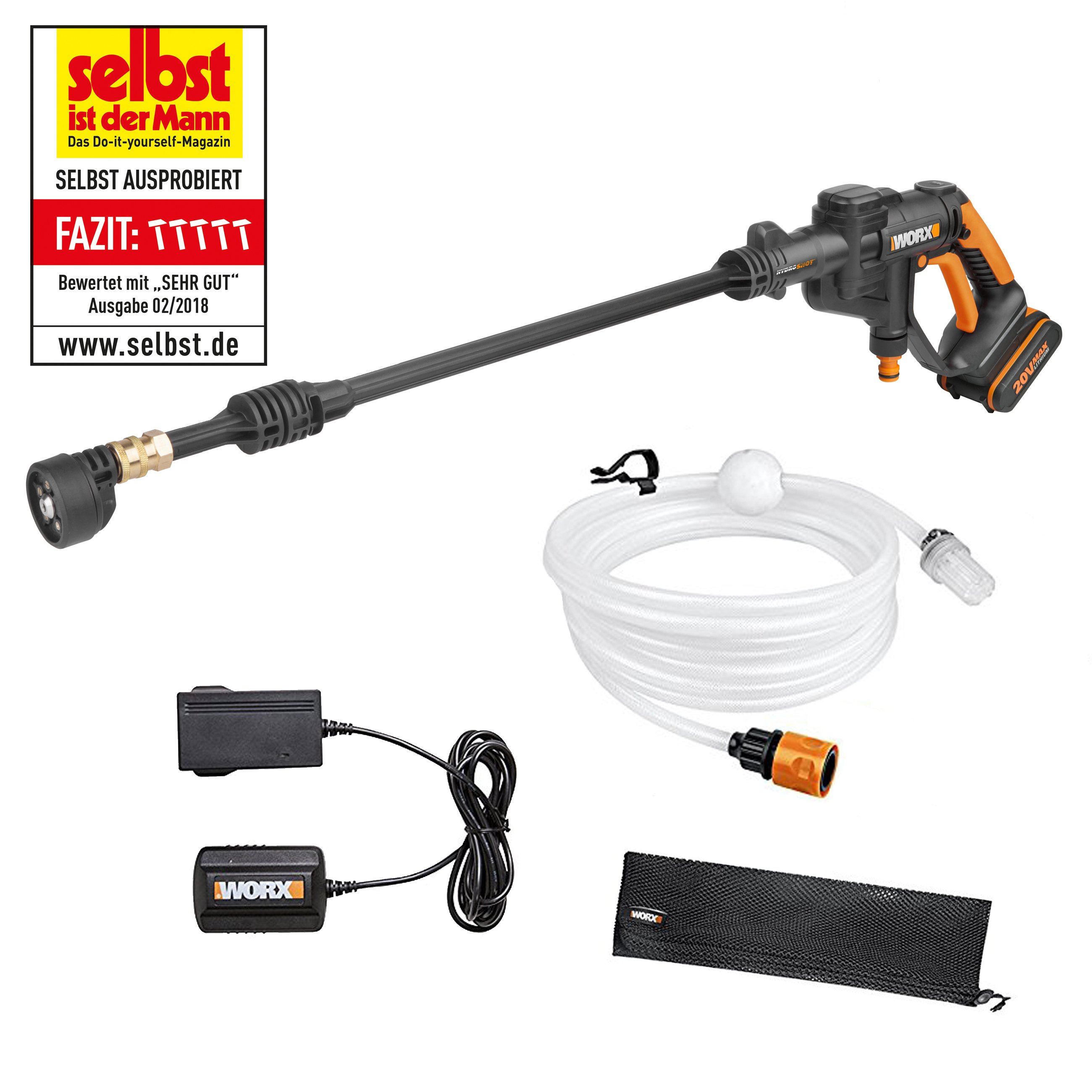 hydroshot worx 20v akku hochdruckreiniger hydroshot wg629e. Black Bedroom Furniture Sets. Home Design Ideas